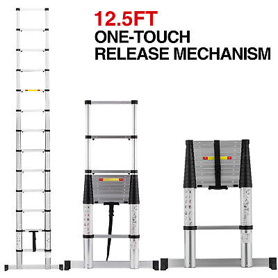 12.5ft Aluminium Ladders One-touch Release Telescoping Extension Folding Step