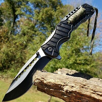 """8.75"""" Spring Assisted Folding Pocket Knife Survival Camping knive Paracord EDC"""