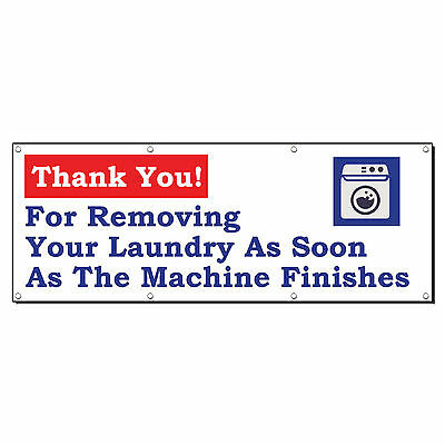 Thank You Removing Laundry Laundromat 2 Ft X 4 Ft Banner Sign W4 Grommets