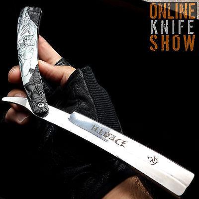 Straight Edge Razor Steel Folding Shaving BLACK Handle Knife Barber Beard NEW