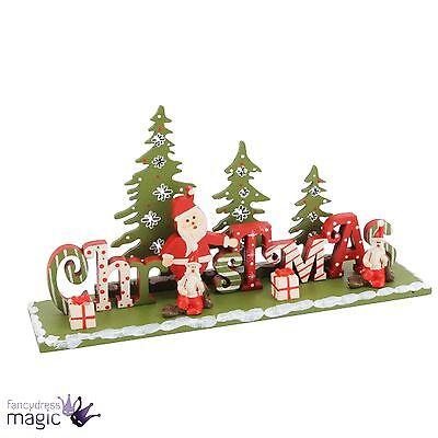 Wooden Christmas Fireplace Window Display Xmas Santa Standing Decoration Tree