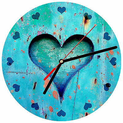 48 WALL CLOCK - Wood 4 Teal Blue Heart Glossy Image weathered boards Beach