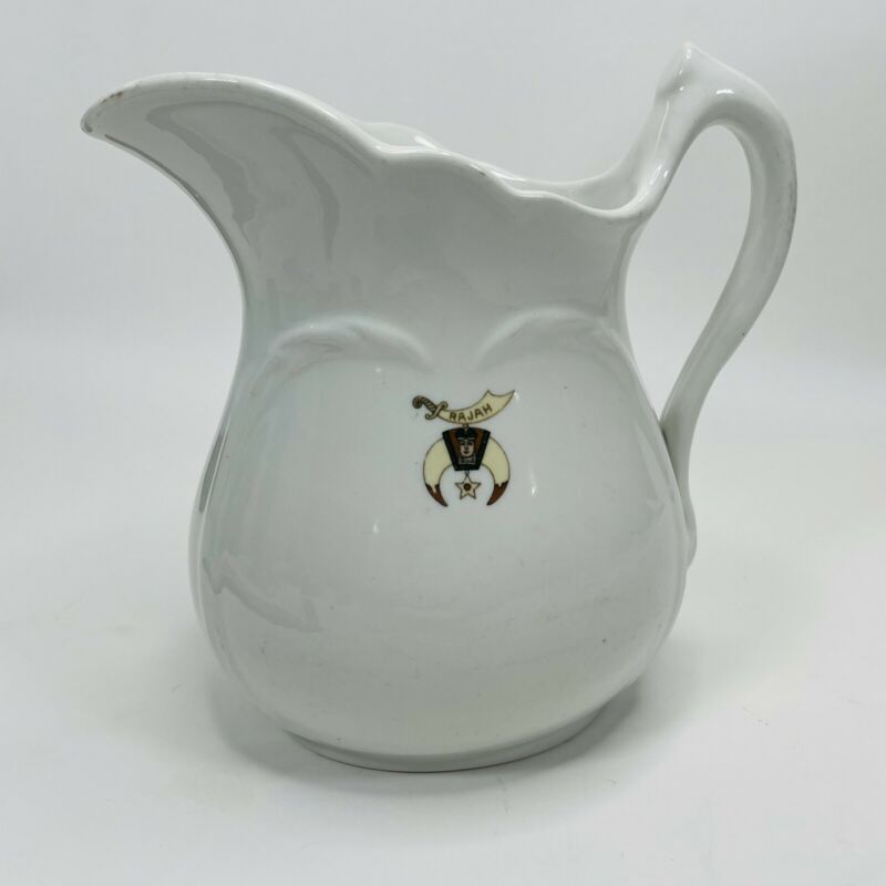 RAJAH Shriners Vintage Pottery White Water Pitcher