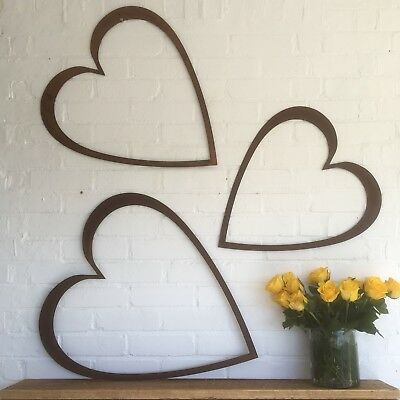 Set Of 3 XL Hearts Industrial Rusty Letters Sign Metal Shop Home Ornament Garden