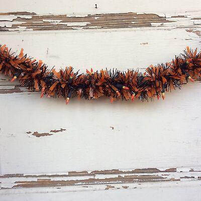 AGD Halloween Decor -Candy Corn Cluster Lighted Black Orange Tinsel Garland 9ft