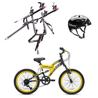 """Kent Bikes Avigo Steel 20"""" Boys BMX Bike & 2 Bike Car Rack & Bike Helmet"""