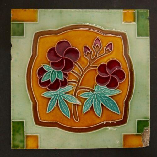 Japanese Art Nouveau Antique Tile Fujimiyaki Japan