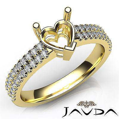 Prong Setting Heart Cut Diamond Engagement 14k Yellow Gold Semi Mount Ring 0.5Ct