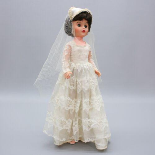 "Vintage 20"" Bride Doll Sleep Eyes Veil Shoes Brunet Wedding Hard Plastic Doll"