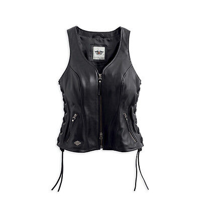 - Harley-Davidson® Women's Avenue Leather Riding Vest Side Lacing Black 98071-14VW