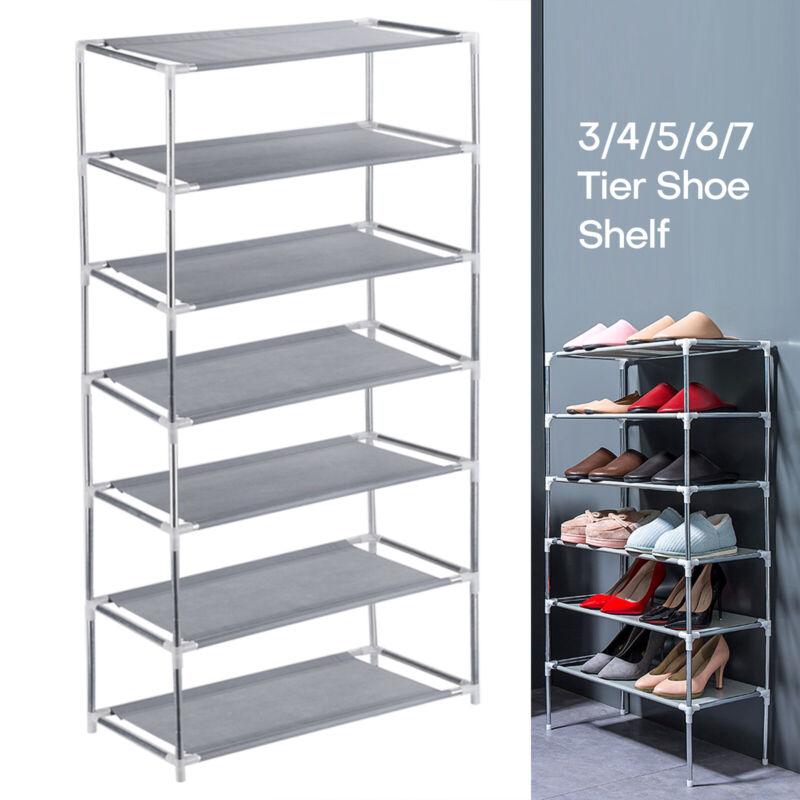 3/4/5/6/7 Tier Metal Shoe Rack Space Saving Storage Organizer Shelf Shoe Tower