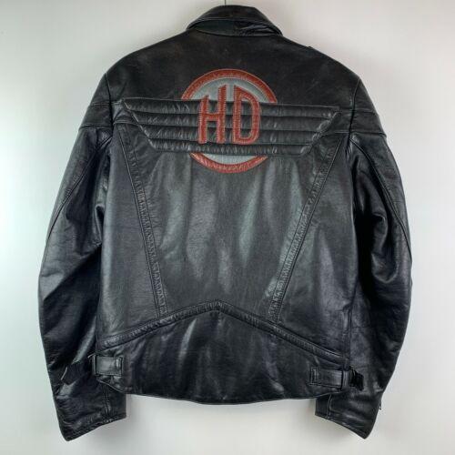 Harley Davidson Mens Size 42 Large Gericke Black Leather Biker Jacket HD