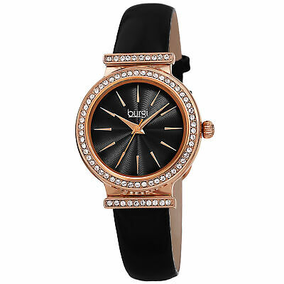 Women's Burgi BUR230BK Black Swarovski Crystal Guilloche Leather Strap Watch