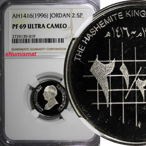 JORDAN PROOF AH1416 (1996) 2,5 Piastres NGC PF69 ULTRA CAMEO TOP GRADED KM# 53