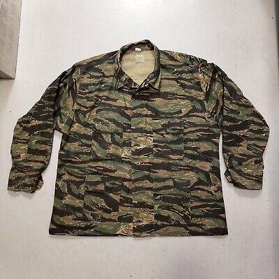 NEW Vtg 80s 90s Tiger Stripe Camouflage Combat Shirt Jacket Camo Fatigues Sz 2XL