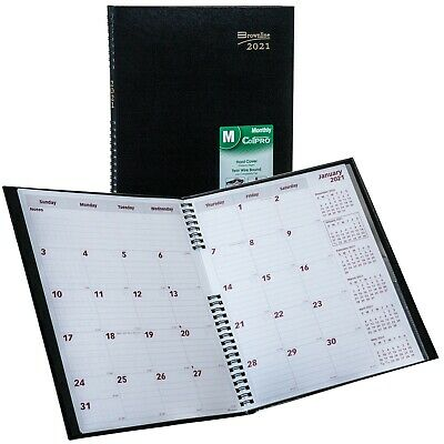 2021 Brownline Cb1262c.blk Monthly Planner Coilpro Hard Cover 8-12 X 11