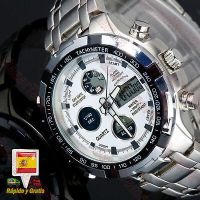 Reloj Hombre Analogico Digital Deportivo Acero Inox. Alarma Luz Cronometro Fecha