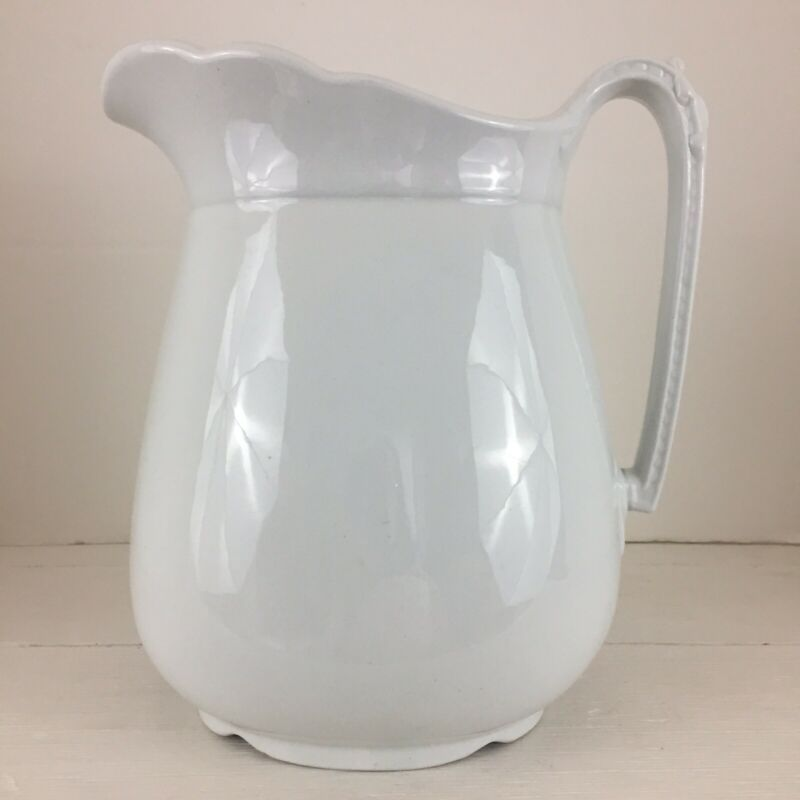 Royal Ironstone China Charles Meakin England Pitcher White Antique 1800s