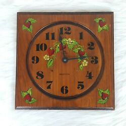 RARE Vintage Wooden Strawberry Theme Wall Clock Quartz Westclox Model No. 46885