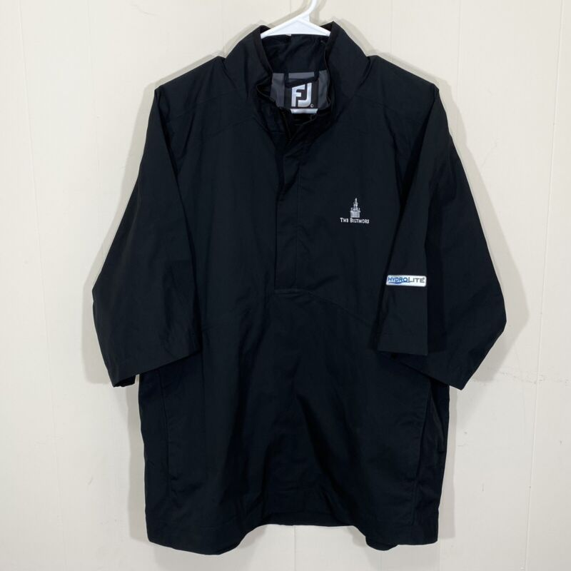 $160 FootJoy FJ Black HydroLite Short Sleeve Rain Shirt Size Large Golf 1/4 Zip