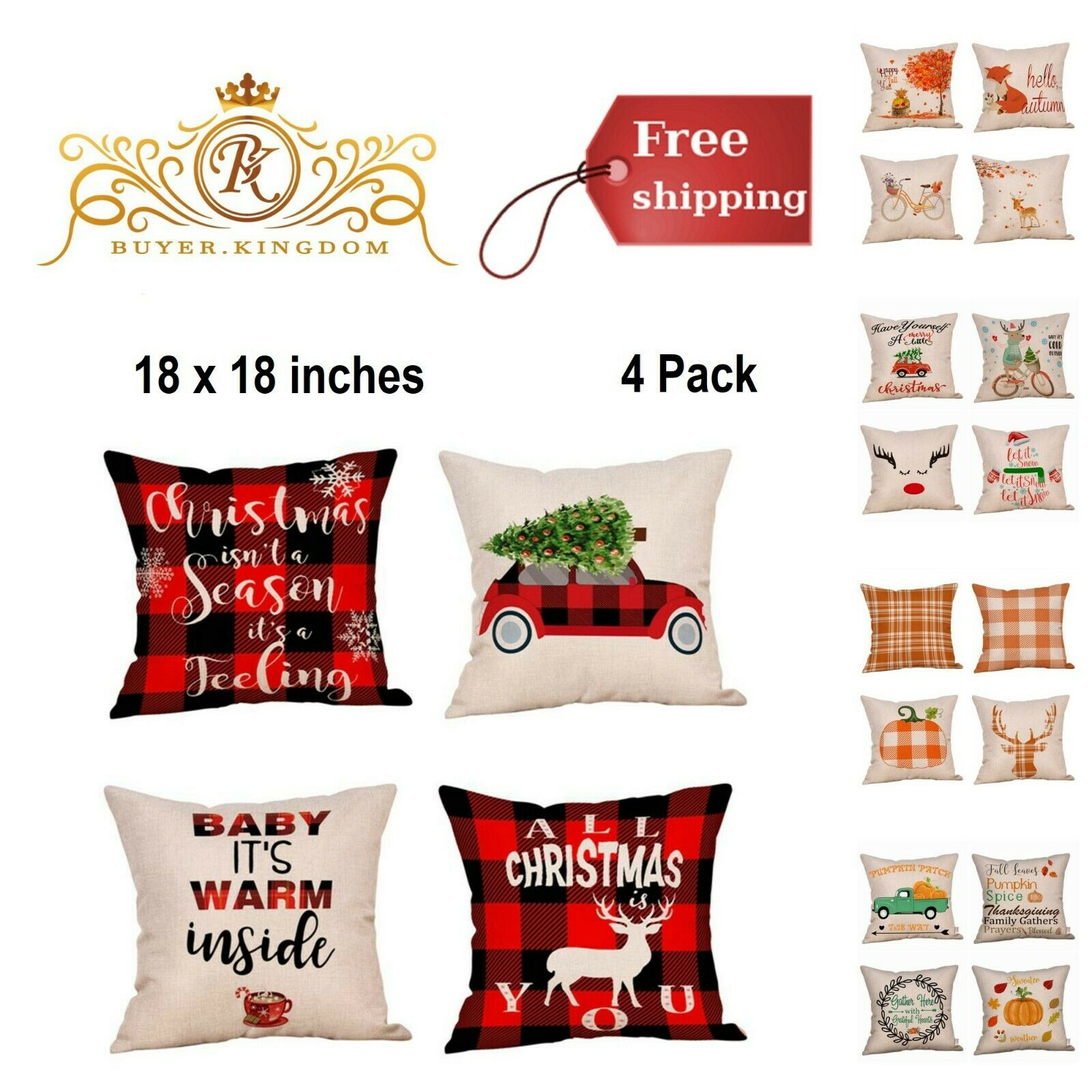 Cushion Pillow Cover Cases Throw Pillowcases Cotton Linen Ch