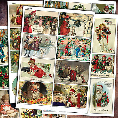 Traditional Vintage Christmas Decoupage Craft  Scrapbooking Sheets  / Victorian