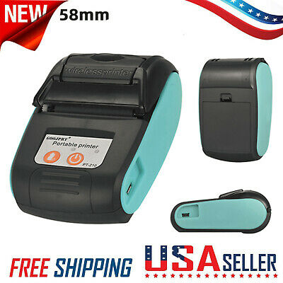 Portable 58mm Thermal Receipt Label Printer Wireless Bt Android Ios Windows P1g6