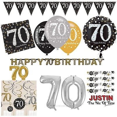70th Gold Celebration Birthday Party Supplies Balloons Tableware & Decorations