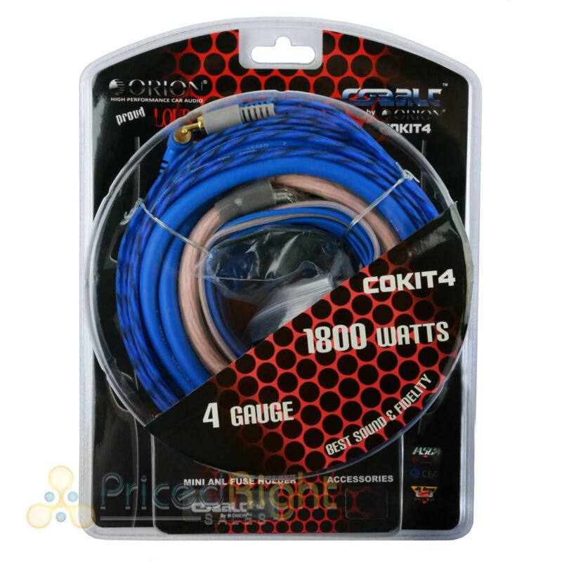 Orion 4 AWG Gauge Amp Kit Amplifier Install Wiring Complete 4 Ga Car Audio Wires