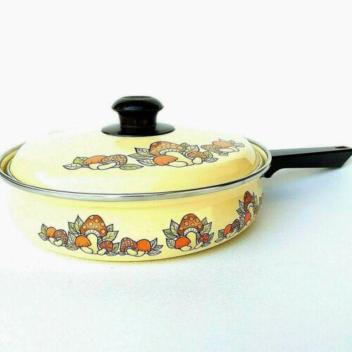 "Vintage 10"" Frying Pan w/Lid Mushroom Enamel Ware Cookware Skillet Yellow Retro"