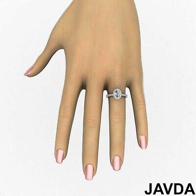 Milgrain Edge Pave Bezel Set Halo Oval Diamond Engagement Ring GIA F VVS2 1.21Ct 4