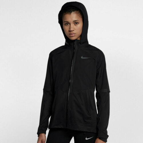 Womens Nike Aeroshield Running Jacket Hooded Wind Waterproof 855498-010 NEW Sz L