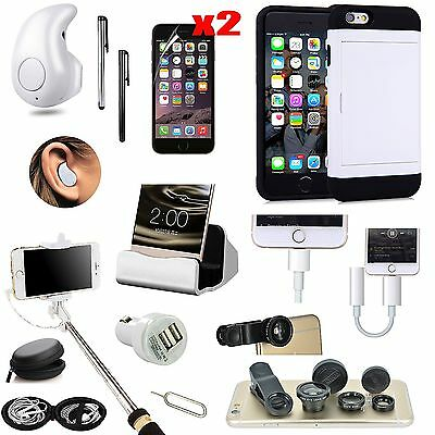 Case Cover+Earphones+Monopod+Fish Eye+Charger Accessory For iPhone 6 iPhone 6S