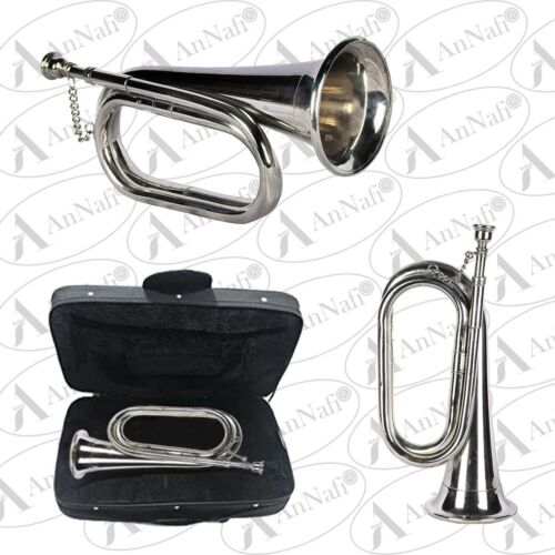 BUGLE PROFESSIONAL TUNEABLE MILITARY BEAUTIFUL SILVER BUGLE WITH HARD CASE