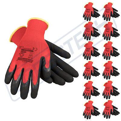 12 Polyester Mechanics Gloves Dipped W Latex Light Weight Jorestech