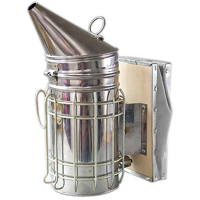 New 11x4 Beekeeping Equipment Bee Hive Smoker Stainless Steel With Heat Shield