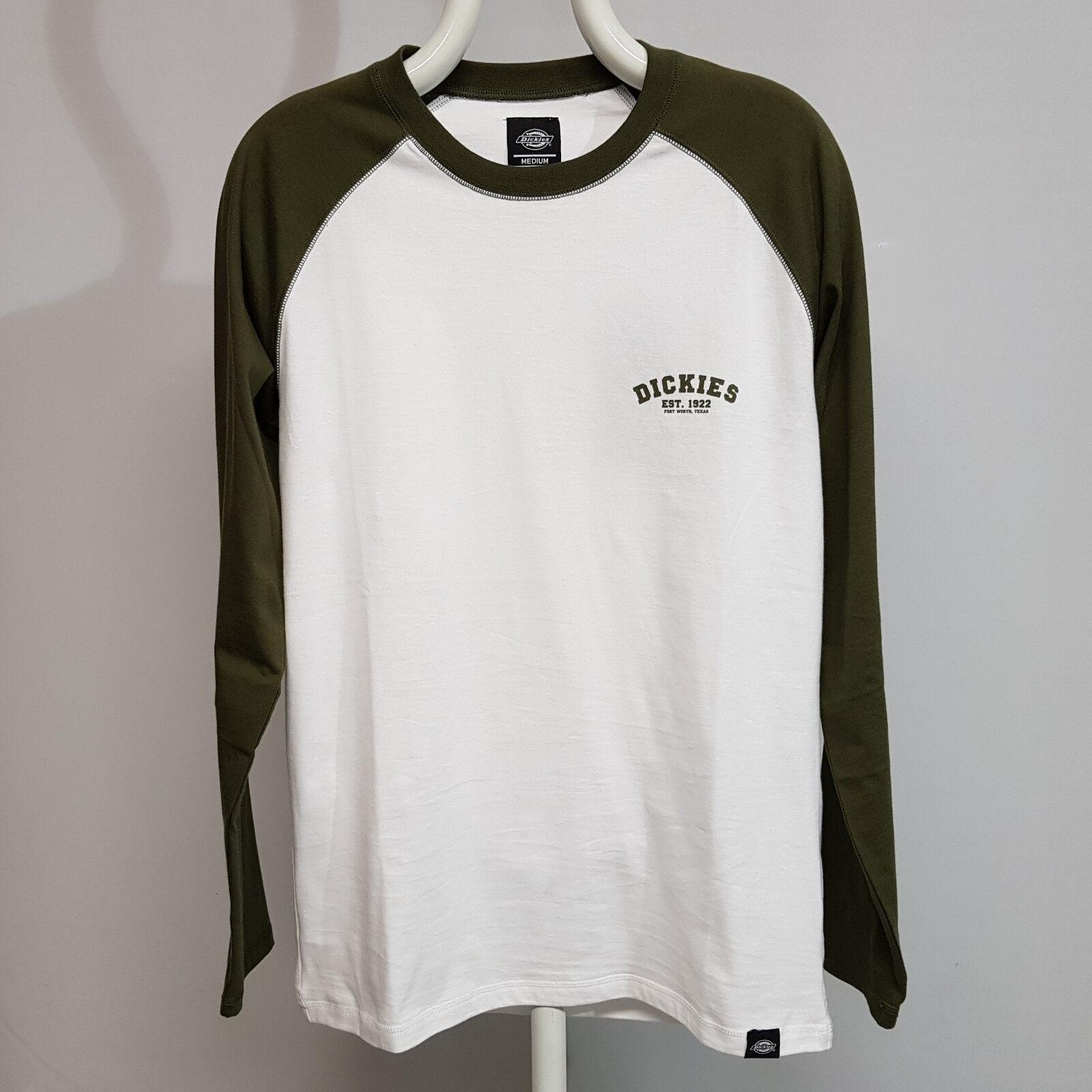 Dickies Baseball Longsleeve Shirt Dark Olive 06-210275 T-Shirt Herren grün weiß