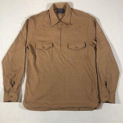 1970s Mens Shirt Styles – Vintage 70s Shirts for Guys Vintage 1970's Pendleton Virgin Wool Field Shirt Half Zip USA Men's Large $29.99 AT vintagedancer.com