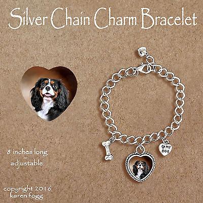Tri Cavalier King Charles Spaniel - CAVALIER KING CHARLES SPANIEL Tri Color -  CHARM BRACELET SILVER CHAIN & HEART