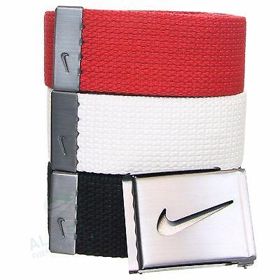 Packung mit 3 Nike Gewebegürteln 38 mm (rot weiß schwarz) bis 115 cm Bundweite