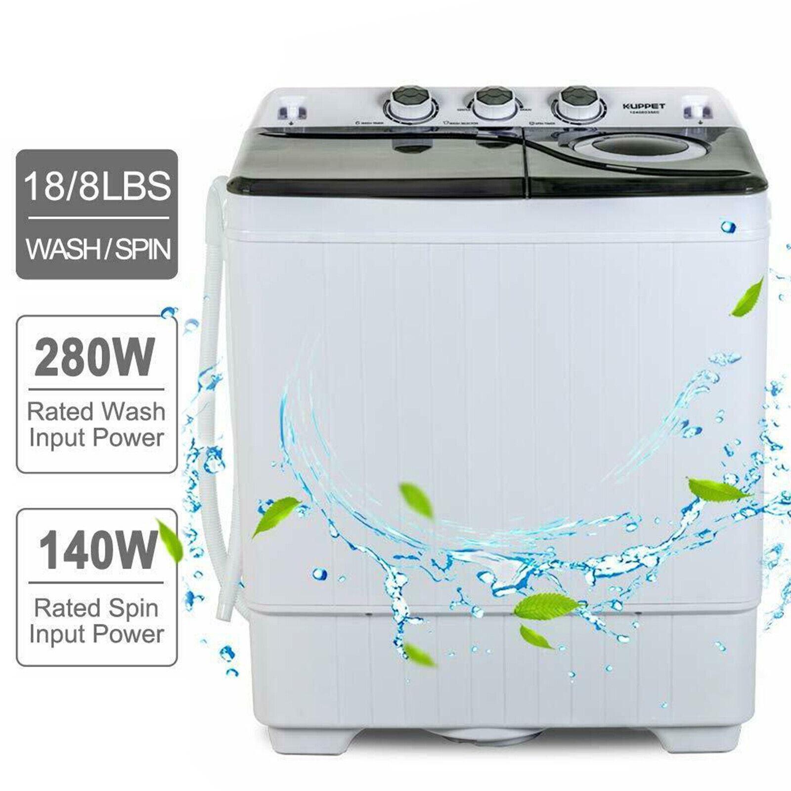 26 LBS Compact Washing Machine Portable Twin Tub Laundry Spi