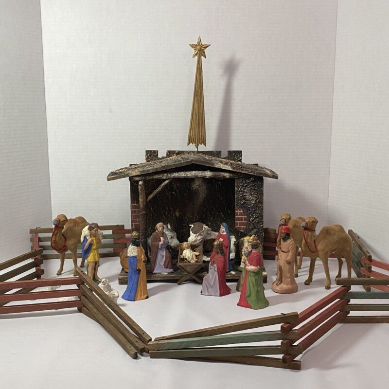 Vintage Early German Nativity w/21 Figures & Creche w/Star, Hollow Formed Clay
