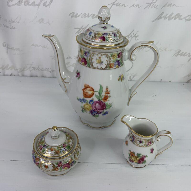 Antique Schumann Dresden Empress Coffee Teapot Sugar Creamer Set