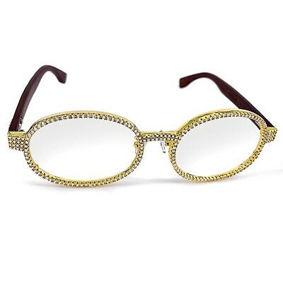 Men's Hip Hop Iced Out Diamond Gold Wood Glasses