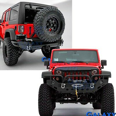 Rock Crawler 07-18 Jeep JK Wrangler Full Width Front+Rear Bumper+Tire Carrier