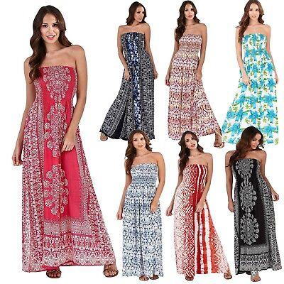 UK Ladies Dress Floral Long Sleeveless Maxi Boho Bandeau Cotton Beach Summer