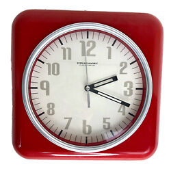 Red Square Sterling and Noble Wall Clock Retro Look