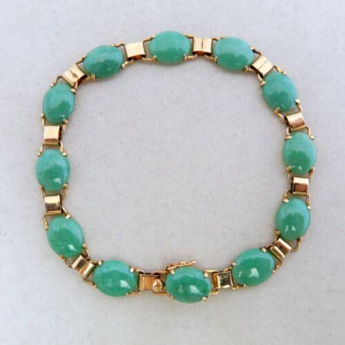 "6.8"" Vintage Chinese 14K Yellow Gold Bracelet w/ Green Jadeite Jade  (7.7 grams)"