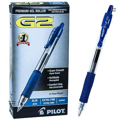Pilot G2 05 Blue 31003 0.5mm Extra Fine Blue Gel Ink Rollerball Pen Box Of 12