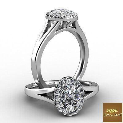 Halo Split Shank Oval Diamond Engagement French Pave Set Ring GIA F VVS1 0.70Ct